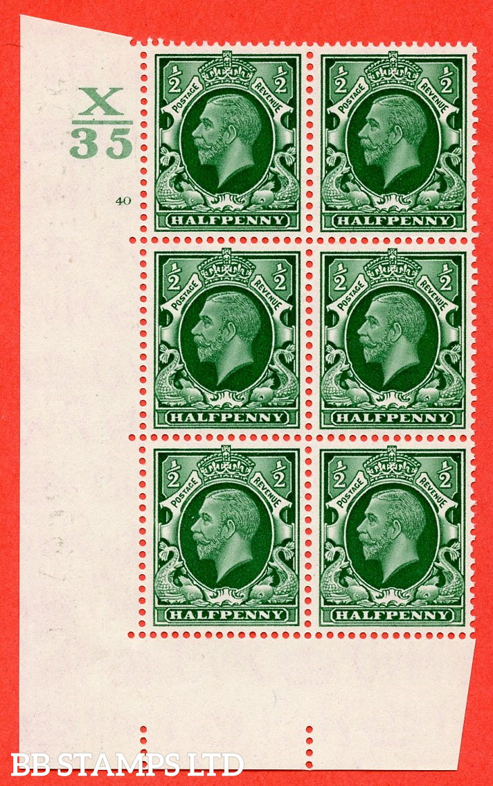 """SG. 439 N47 ½d. Green. A superb UNMOUNTED MINT """" Control X35 cylinder 40 no dot """" control block of 6 with perf type 5 E/I"""