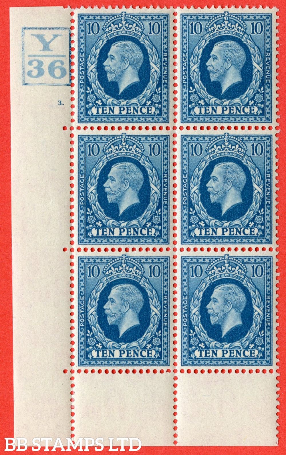 SG. 448. N61. 10d Turquoise-Blue. A very fine mounted mint block of 6. Box. Control Y36. Cylinder 3 dot perf type 6B E/P.