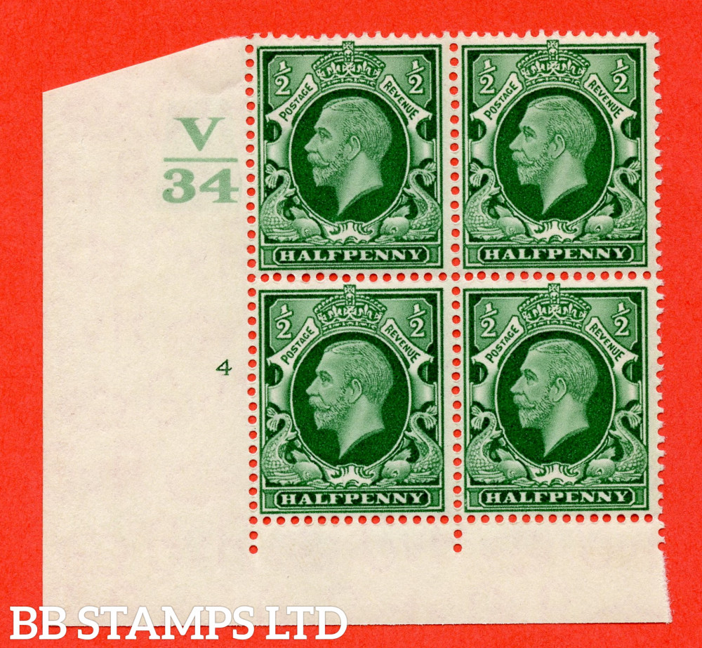 """SG. 439 variety N46 ½d. Green. A superb unmounted mint """" Control V34 cylinder 4 no dot """" control block of 4 with perf type 4 I/2E"""