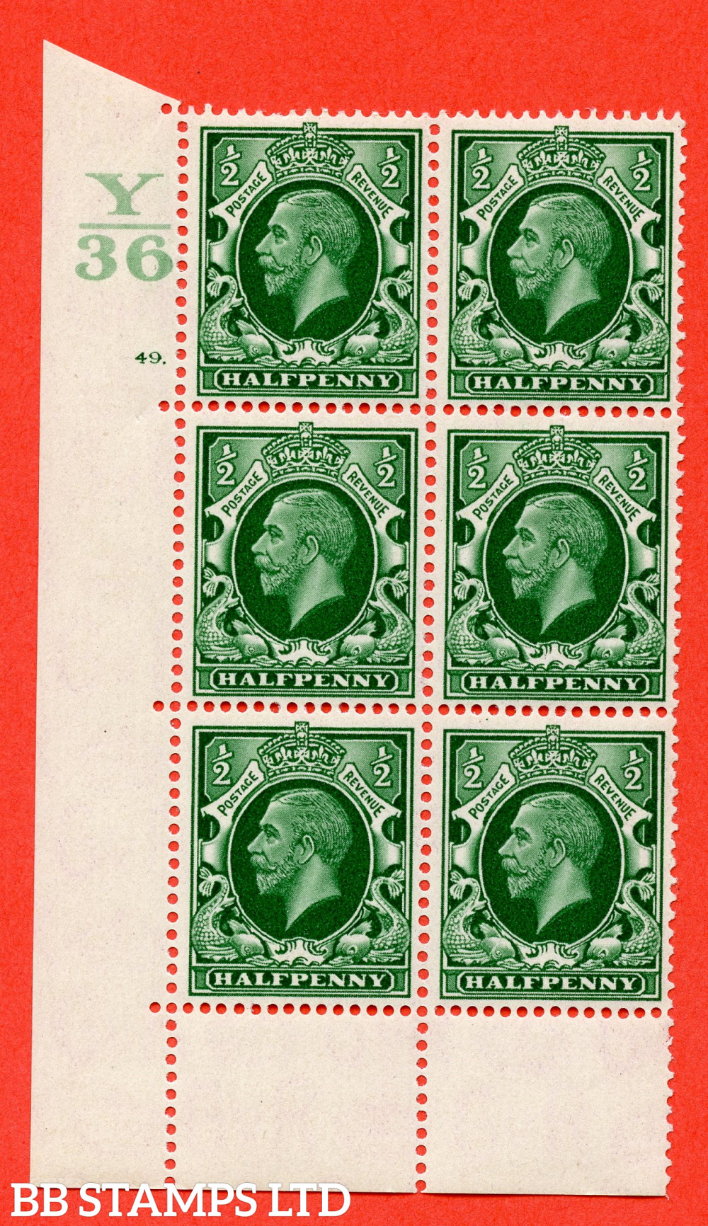 """SG. 439 N47 ½d. Green. A superb unmounted mint """" Control Y36 cylinder 49 dot """" control block of 6 with perf type 6B E/P"""