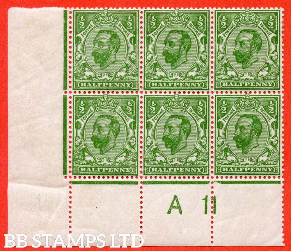 "SG. 324. N2 (3) c. ½d yellow green. Die 1B. A very fine mounted mint control "" A11 perf -- close "" block of 6 with the listed variety "" cracked plate ( plate 3. Row 20/2 ) ""."