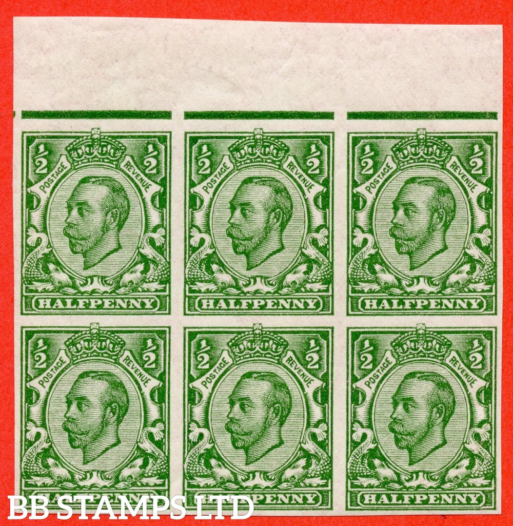 "SG. 346 b. N6 (1) f. ½d green "" IMPERF "". A super UNMOUNTED MINT top marginal block of 4 of this scarcer Downey variety. A very scarce multiple this large."