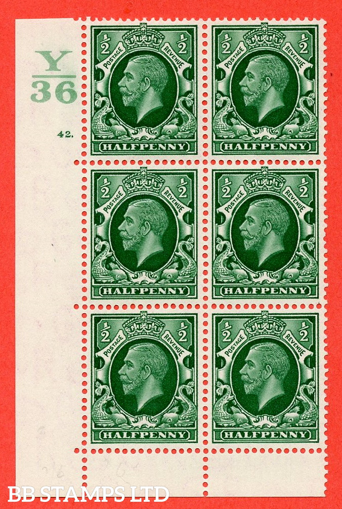 """SG. 439 N47 ½d. Green. A fine lightly mounted mint """" Control Y36 cylinder 42 dot """" control block of 6 with perf type 6B E/P"""