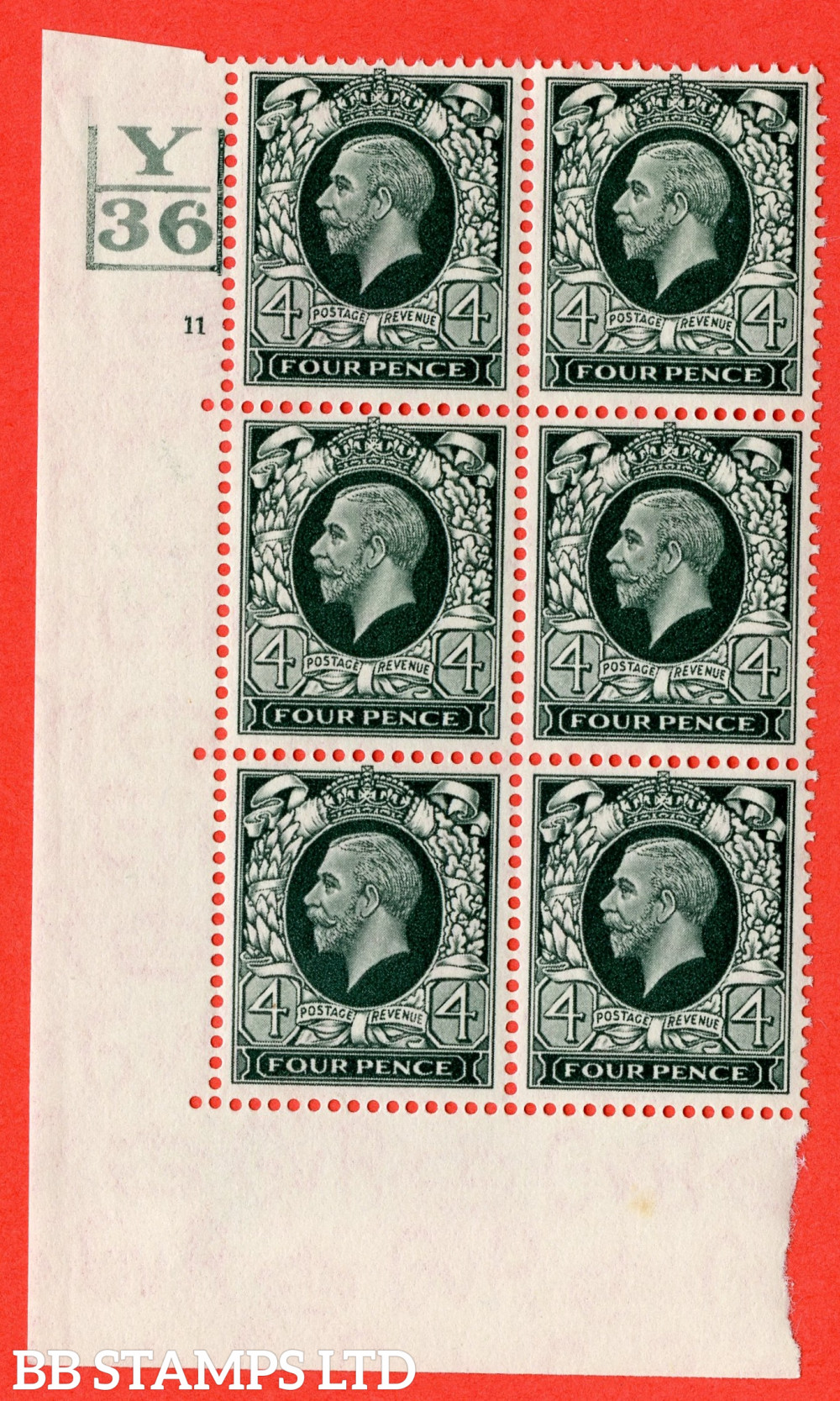 SG. 445. N58. 4d Grey-Green. A fine mounted mint block of 6. Control Y36. 3 Bars. Cylinder 11 no dot perf type 5 E/I.