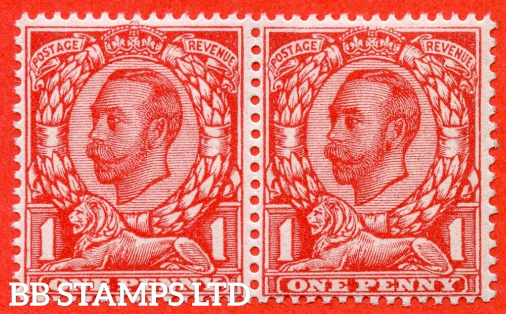 """SG. 343a. N11(5) d. 1d Aniline scarlet. Die 2. """" NO CROSS ON CROWN """" A very fine UNMOUNTED MINT horizontal pair with the right hand stamp clearly showing this RARE George V variety. Complete with RPS certificate."""