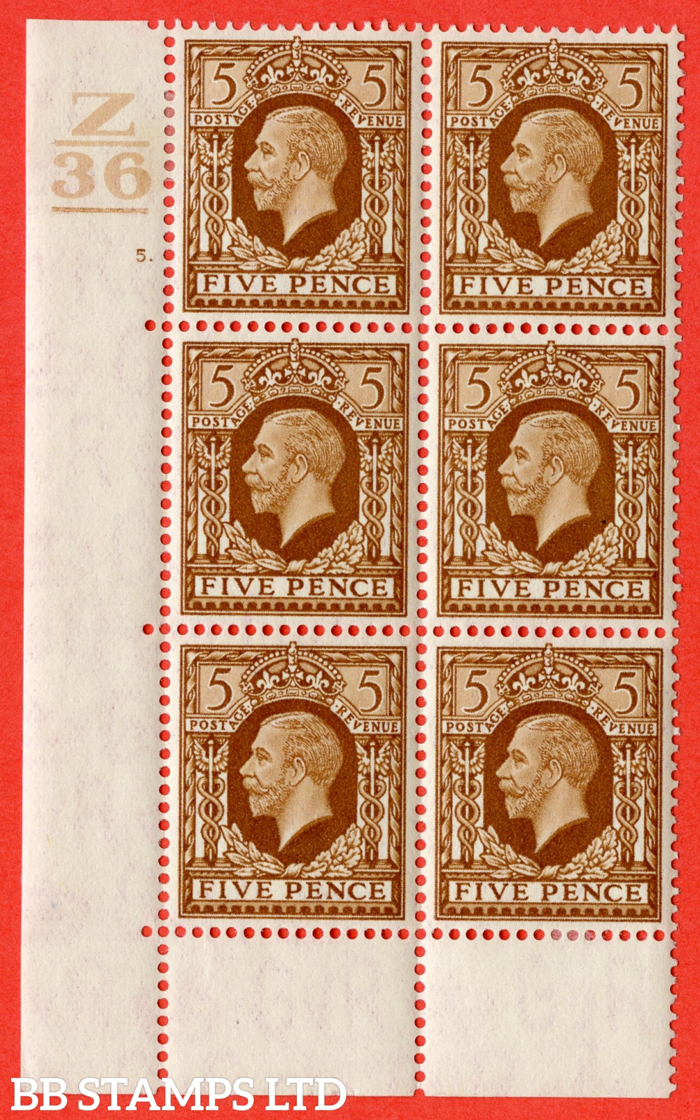 SG. 446. N59. 5d Yellow-Brown. A fine mounted mint block of 6. Control Z36. 1 Bar. Cylinder 5 dot perf type 6B E/P.