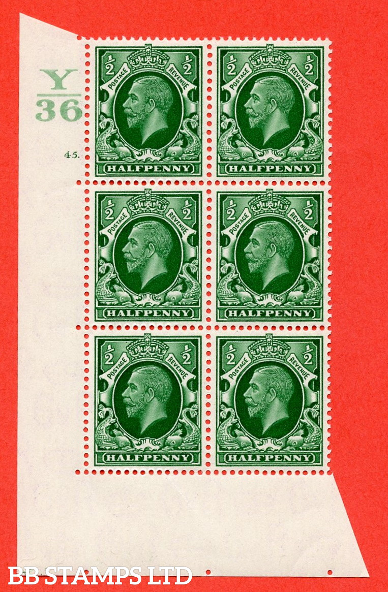 """SG. 439 N47 ½d. Green. A superb unmounted mint """" Control Y36 cylinder 45 dot """" control block of 6 with perf type 5 E/I"""