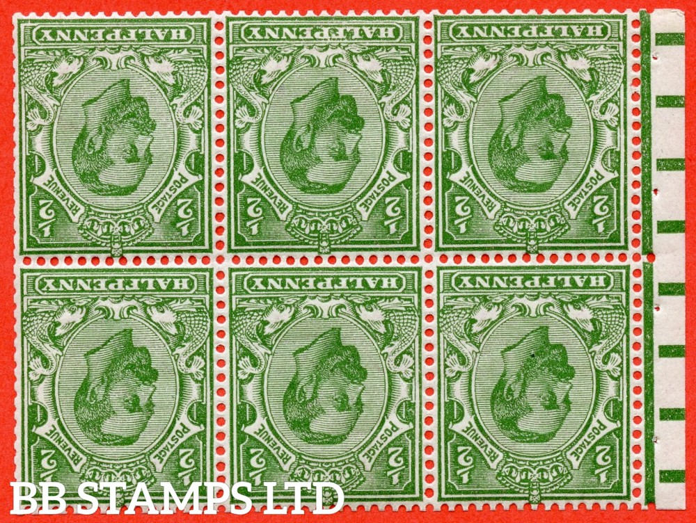 SG. 335 aw. Variety NB2 a. SG. 334 wi. N3 (2) b. ½d pale green. Die 1B. INVERTED WATERMARK. A fine UNMOUNTED MINT complete booklet pane. Perf type E.