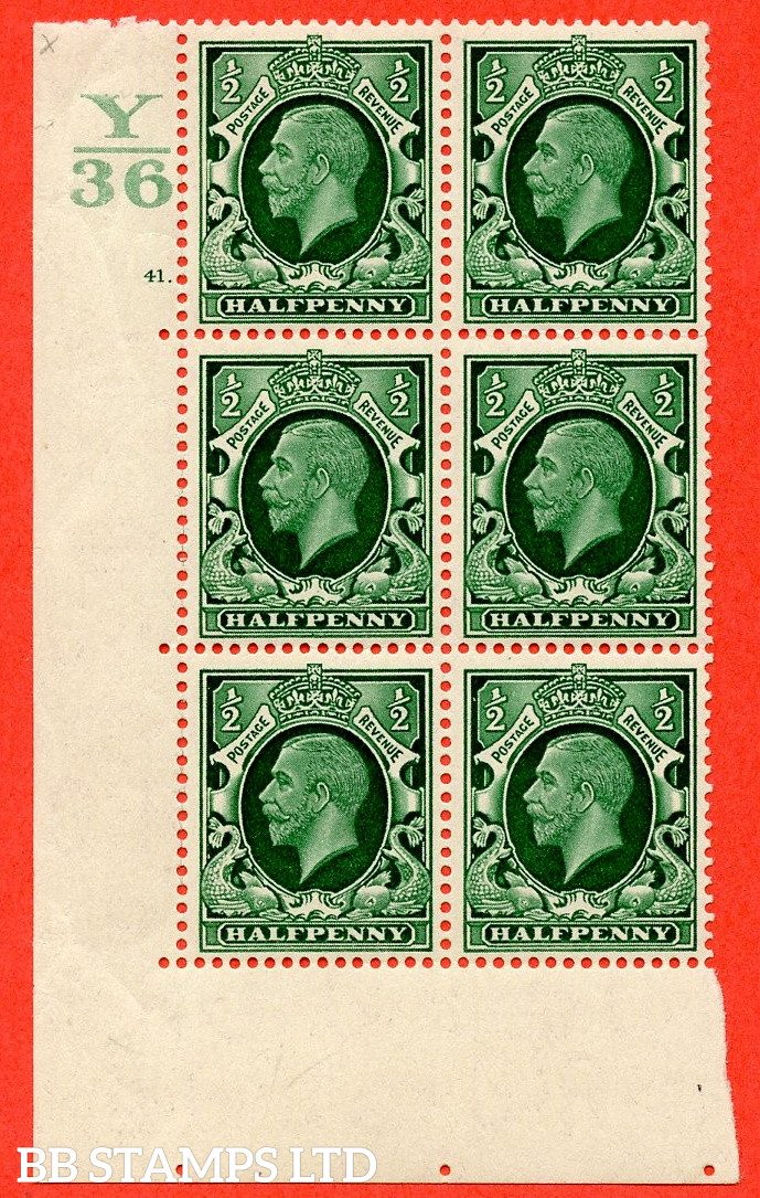 """SG. 439 N47 ½d. Green. A superb unmounted mint """" Control Y36 cylinder 41 dot """" control block of 6 with perf type 5 E/I"""