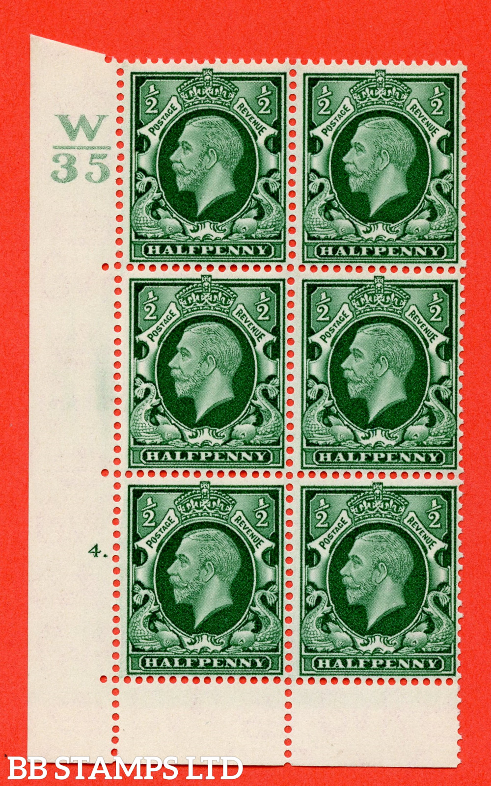 """SG. 439 variety N46 ½d. Green. A superb UNMOUNTED MINT """" Control W35 cylinder 4 dot """" control block of 6 with perf type 6B E/P"""