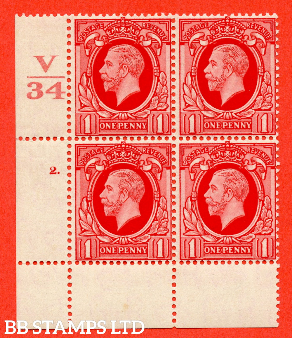 """SG. 440 variety N48 1d Scarlet. A fine lightly mounted mint """" Control V34 cylinder 2 dot """" control block of 4 with perf type 2A P/P"""