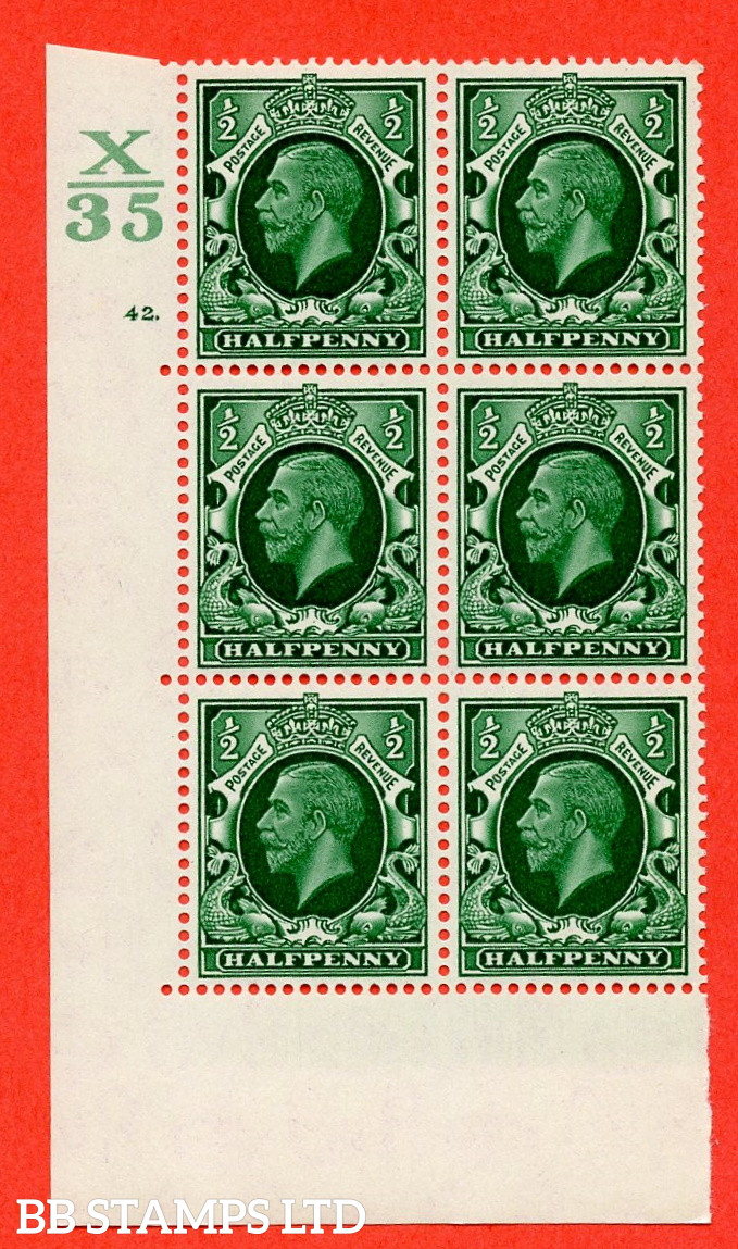 """SG. 439 N47 ½d. Green. A superb UNMOUNTED MINT """" Control X35 cylinder 42 dot """" control block of 6 with perf type 5 E/I"""