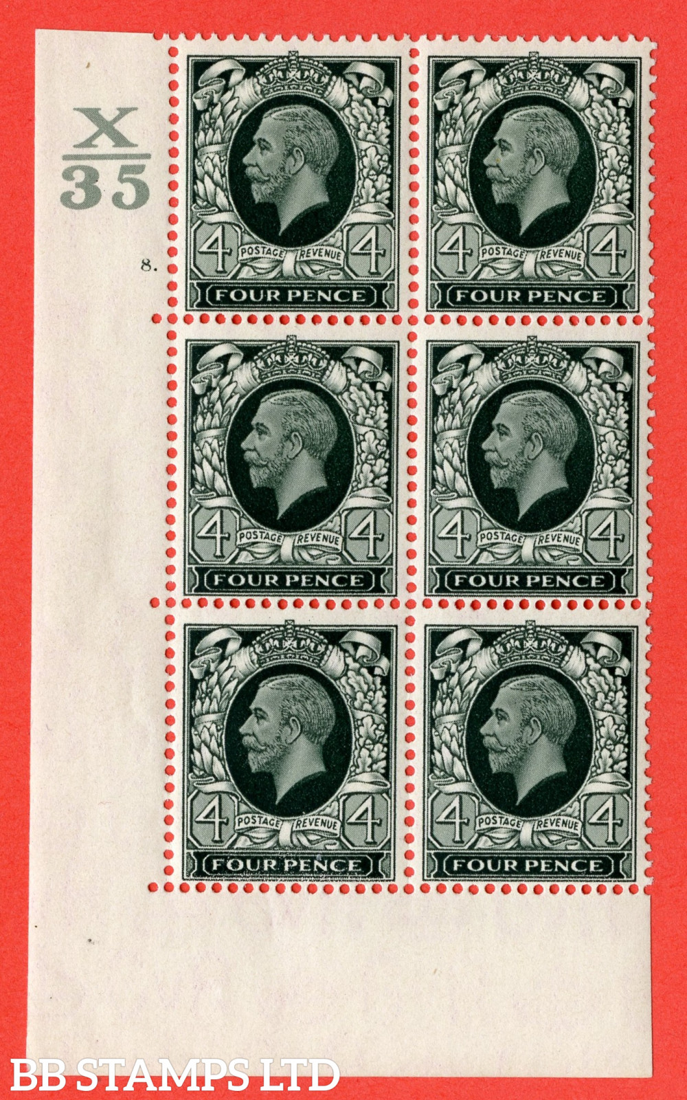 """SG. 445. N58. 4d Grey-Green. A fine lightly mounted mint """" Control X35 Cylinder 8 dot """" block of 6 perf type 5 E/I"""