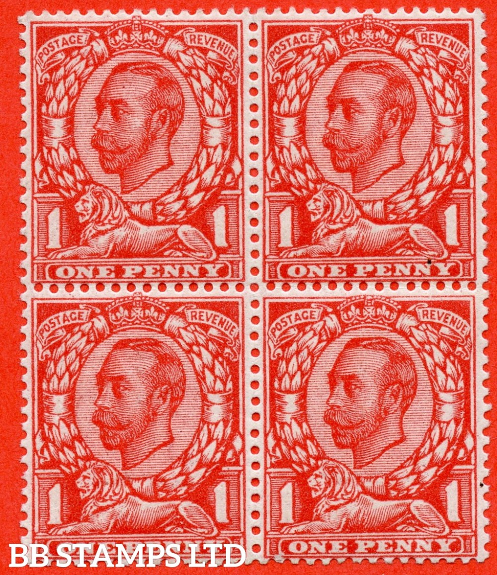 """SG. 343a. N11(5) d. 1d Aniline scarlet. Die 2. """" NO CROSS ON CROWN """" A very fine UNMOUNTED MINT block of 4 with the bottom left hand corner stamp clearly showing this RARE George V variety. Complete with RPS certificate."""