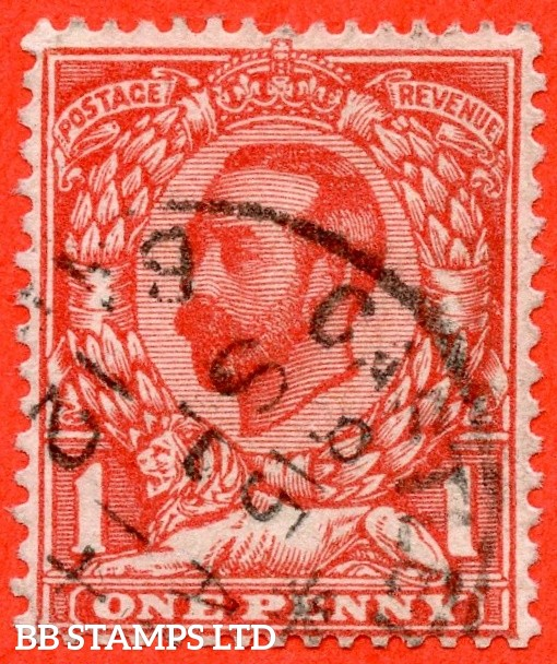 """SG. 333 wi. N9 (4) a. 1d Aniline scarlet. INVERTED WATERMARK. A very fine """" 14th September 1912 """" CDS used example of this scarce Downey shade variety."""