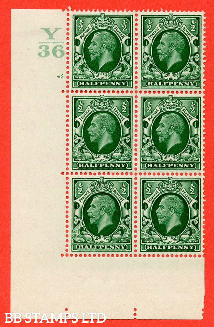 """SG. 439 N47 ½d. Green. A fine lightly mounted mint """" Control Y36 cylinder 45 no dot """" control block of 6 with perf type 5 E/I"""