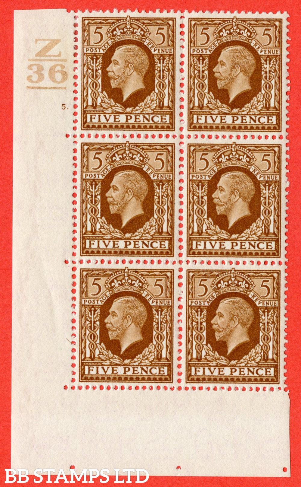 SG. 446. N59. 5d Yellow-Brown. A fine mint block of 6. Control Z36. 1 Bar. Cylinder 5 dot perf type 5 E/I.