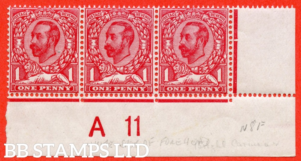 """SG. N8 (UNLISTED) f. 1d deep carmine red. An UNMOUNTED MINT control """" A11 close - imperf """" strip of 3 of this known shade. Perf type 2. With the listed variety """" small white spot on forehead (Plate 4. Row 20/11). """". With Hendon Cert."""