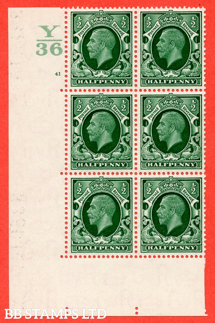 """SG. 439 N47 ½d. Green. A fine lightly mounted mint """" Control Y36 cylinder 41 no dot """" control block of 6 with perf type 5 E/I"""