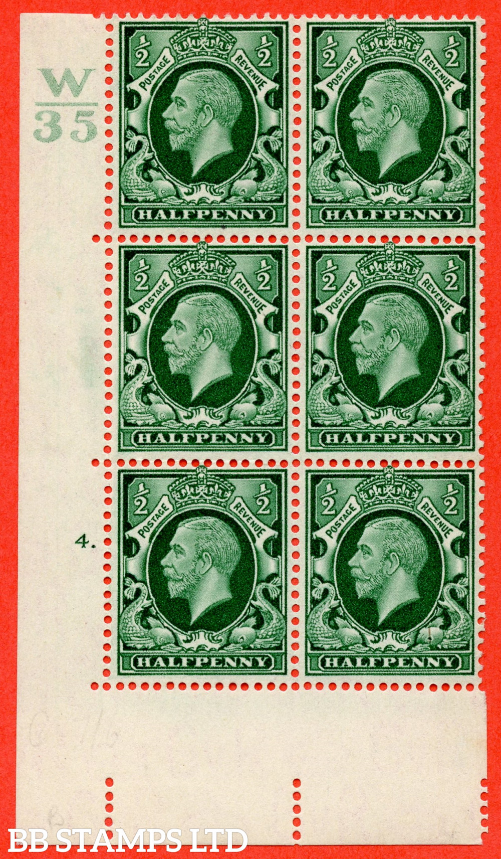 """SG. 439 variety N46 ½d. Green. A superb UNMOUNTED MINT """" Control W35 cylinder 4 dot """" control block of 6 with perf type 5 E/I"""