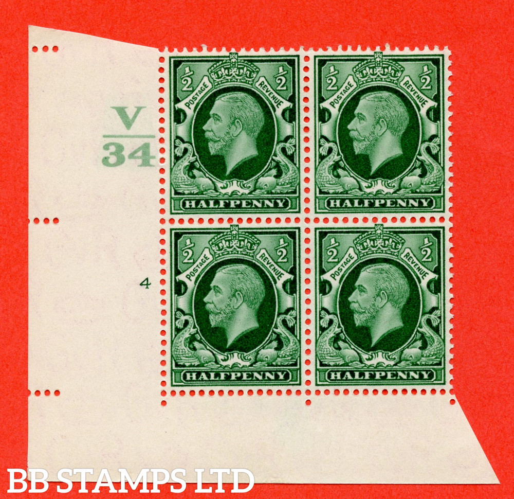 """SG. 439 variety N46 ½d. Green. A superb unmounted mint """" Control V34 cylinder 4 no dot """" control block of 4 with perf type 2 I/E"""