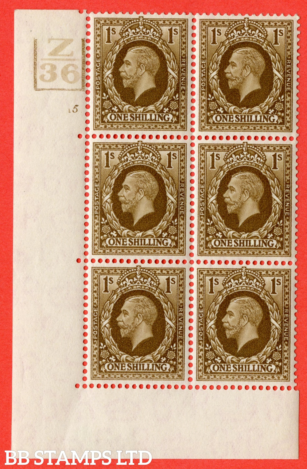 SG. 449. N62. 1/- Bistre-Brown. A fine mint block of 6. Control Z36. 3 Bars Cylinder 5 no dot. Perf type 5 E/I.