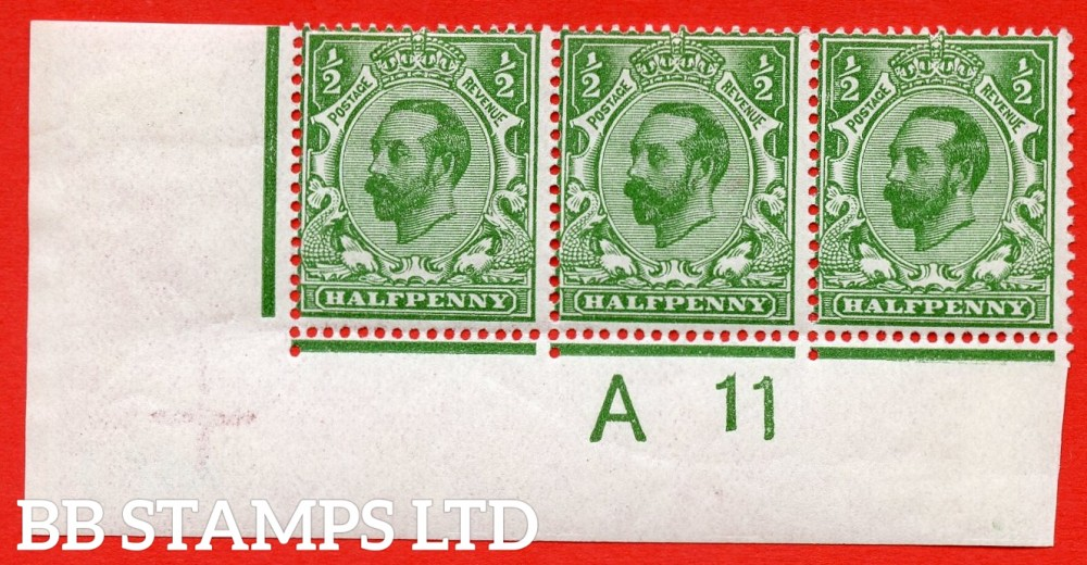"""SG. 323 variety N1 (5)e.. ½d yellow green. Die 1A. A fine mounted mint control """" A11 wide """" perf type 2 strip of 3. Stamp 3 ( which is UNMOUNTED MINT ) having the listed variety """" white spot under ear ( Pl. ?. Row 20/3 ) """". A Very scarce variety."""