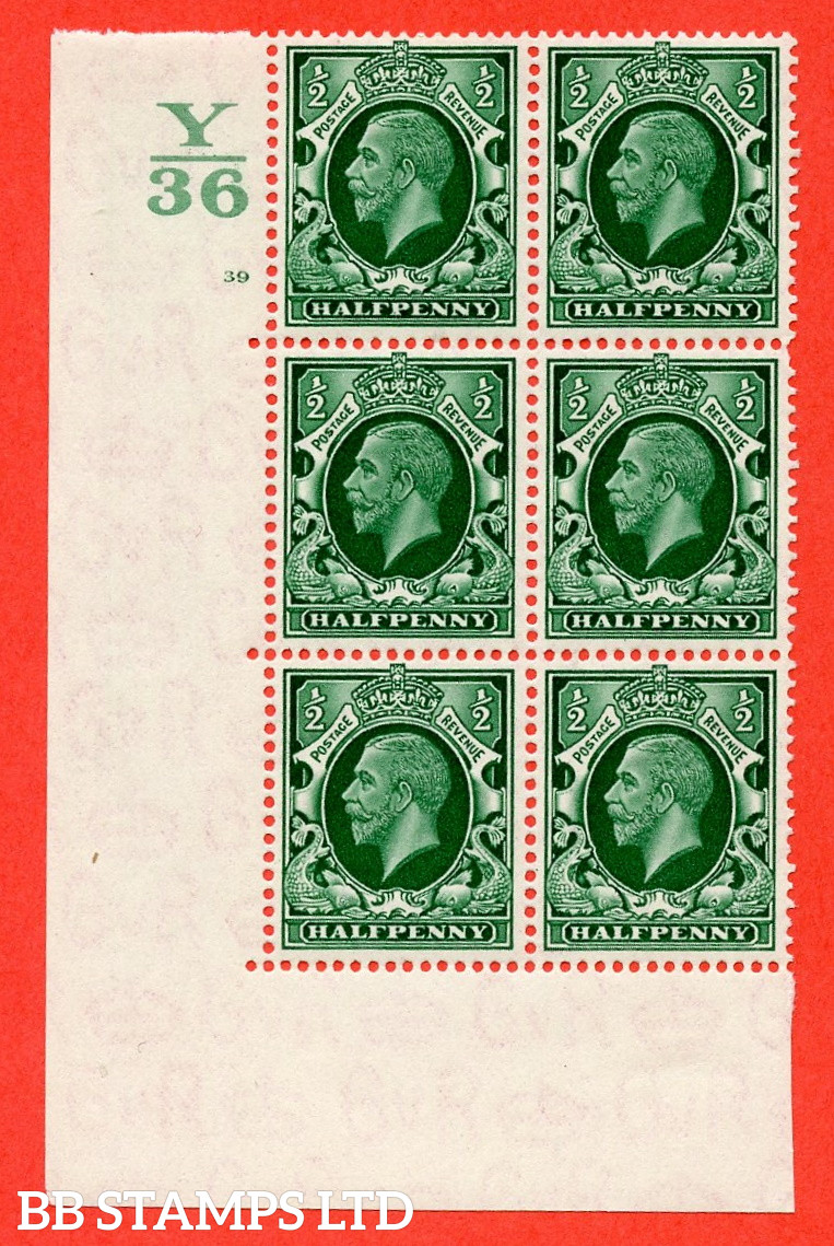 """SG. 439 N47 ½d. Green. A fine lightly mounted mint """" Control Y36 cylinder 39 no dot """" control block of 6 with perf type 5 E/I"""