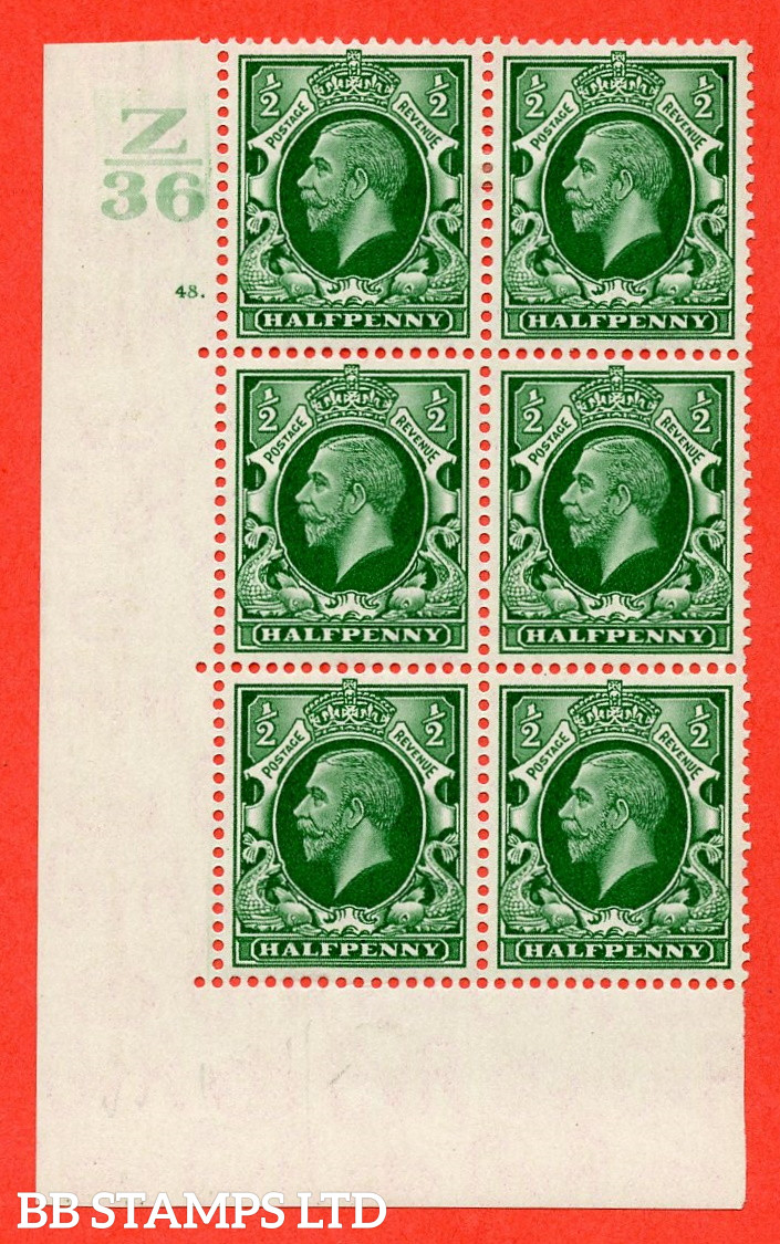 """SG. 439 N47 ½d. Green. A fine lighly mounted mint """" Control Z36 cylinder 48 dot """" control block of 6 with perf type 5 E/I"""
