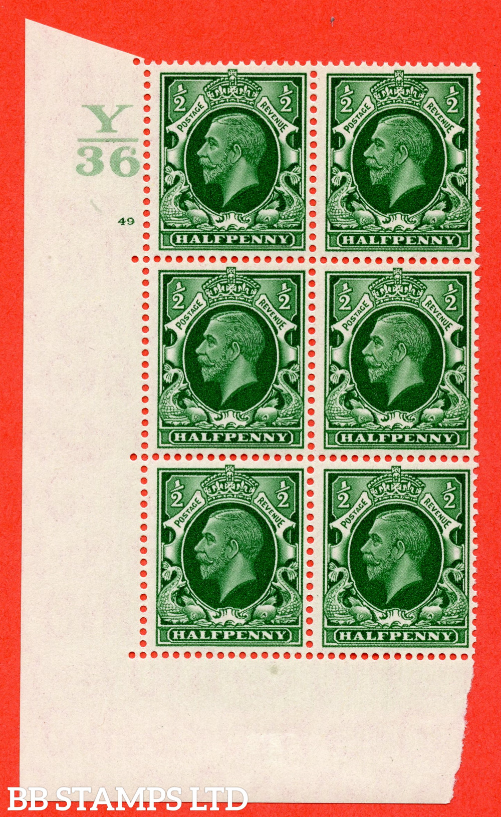 """SG. 439 N47 ½d. Green. A superb unmounted mint """" Control Y36 cylinder 49 no dot """" control block of 6 with perf type 5 E/I"""