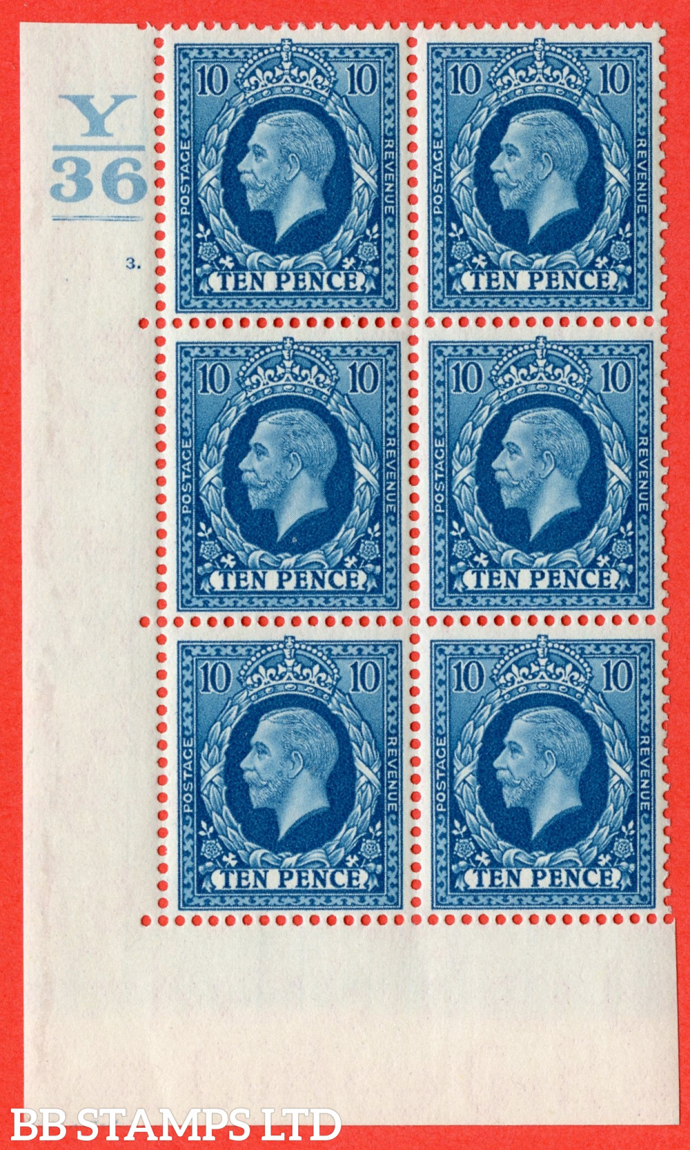 SG. 448. N61. 10d Turquoise-Blue. A very fine mounted mint block of 6. 1 Bar. Control Y36. Cylinder 3 dot perf type 5 E/I.