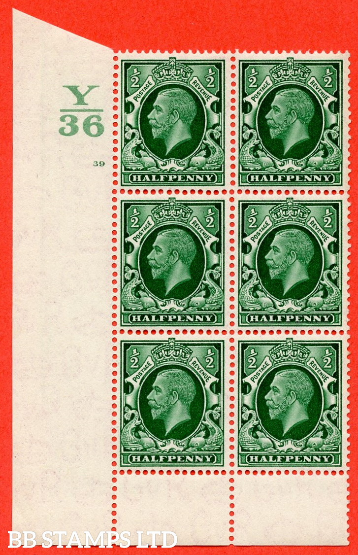 """SG. 439 N47 ½d. Green. A superb unmounted mint """" Control Y36 cylinder 39 no dot """" control block of 6 with perf type 6 I/P"""