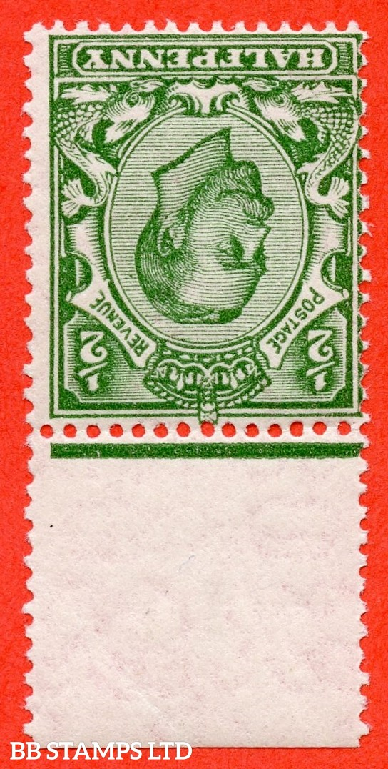 SG. 346 wk. N6 (1) c. ½d green. INVERTED & REVERSED WATERMARK.  A super UNMOUNTED MINT top marginal example complete with RPS certificate.