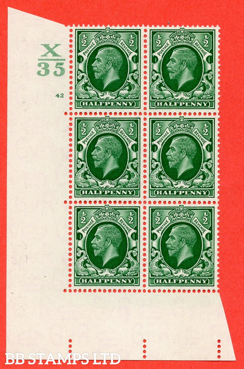 """SG. 439 N47 ½d. Green. A superb unmounted mint """" Control X35 cylinder 42 no dot """" control block of 6 with perf type 5 E/I"""