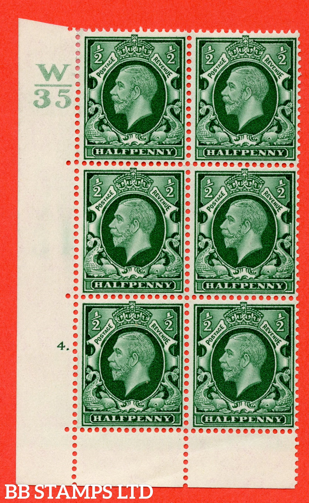 """SG. 439 variety N46 ½d. Green. A fine lightly mounted mint """" Control W35 cylinder 4 dot """" control block of 6 with perf type 6B E/P"""