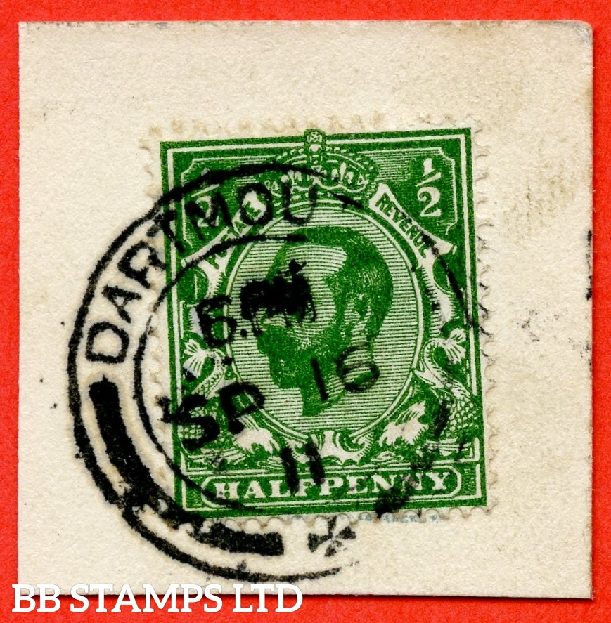 "SG. 324 Variety N2 (7). ½d Very Deep Green. A very fine "" 16th September 1911 DARTMOUTH "" CDS used example of this very scarce Downey shade. Complete with RPS certificate."