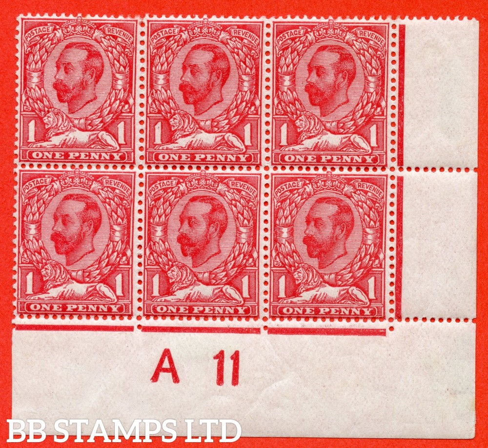 """SG. 330. Variety N8 (6) d. 1d carmine red. A fine mounted mint control """" A11 close - imperf """" block of 6 with the listed variety """" white spot left of ' O ' and white spot above ' T ' of POSTAGE. PL.14. Row 20/11."""