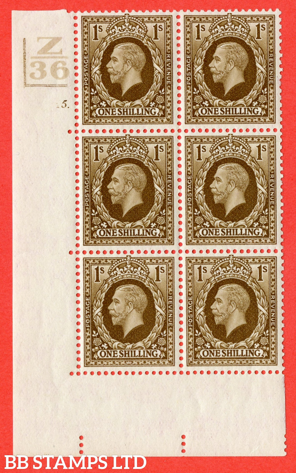 SG. 449. N62. 1/- Bistre-Brown. A fine mounted mint block of 6. Control Z36. 2 Bars. Cylinder 5 dot. Perf type 5 E/I.
