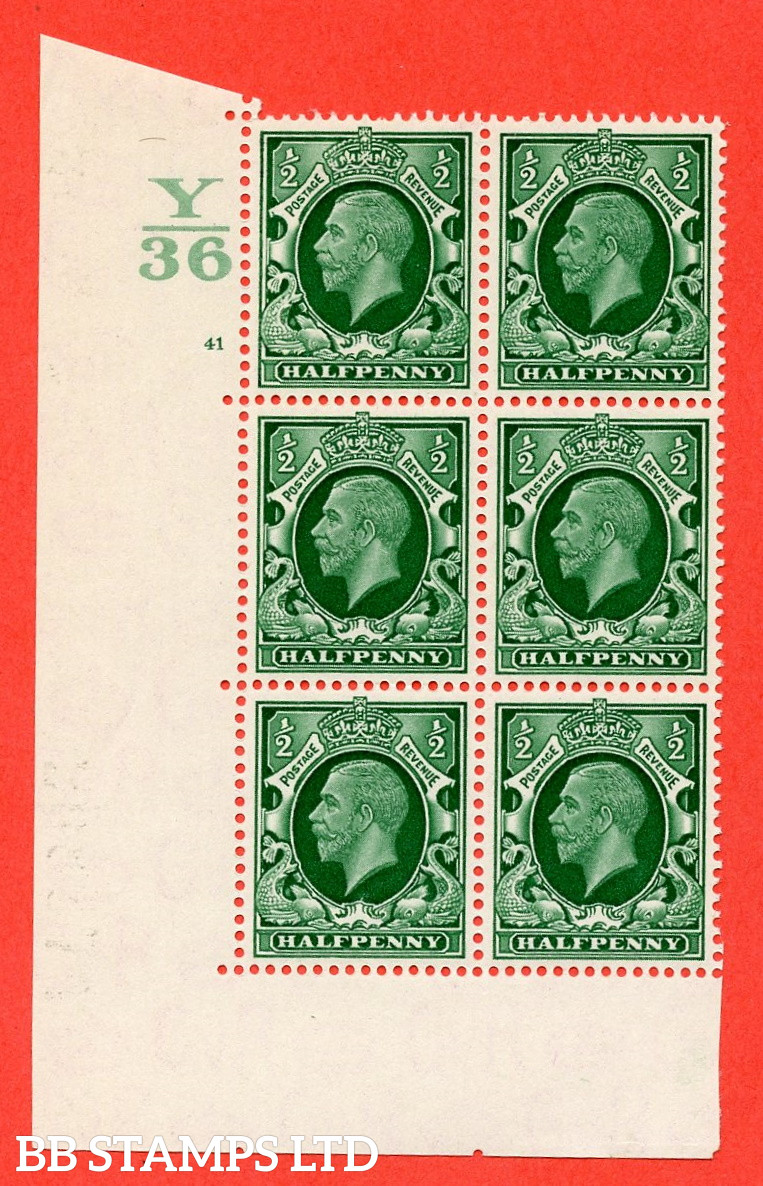 """SG. 439 N47 ½d. Green. A superb unmounted mint """" Control Y36 cylinder 41 no dot """" control block of 6 with perf type 5 E/I"""