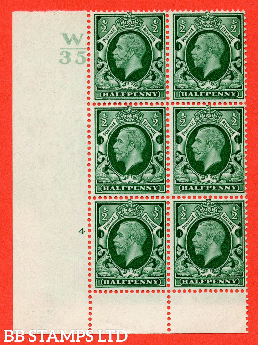 """SG. 439 variety N46 ½d. Green. A fine lightly mounted mint """" Control W35 cylinder 4 no dot """" control block of 6 with perf type 6 I/P"""