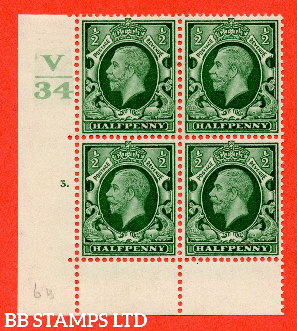 """SG. 439 variety N46 ½d. Green. A fine lightly mounted mint """" Control V34 cylinder 3 dot """" control block of 4 with perf type 6B E/P"""