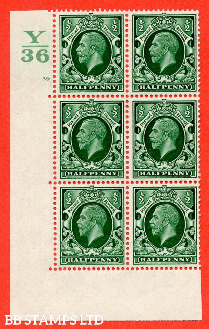 """SG. 439 N47 ½d. Green. A superb UNMOUNTED MINT """" Control Y36 cylinder 39 no dot """" control block of 6 with perf type 5 E/I"""
