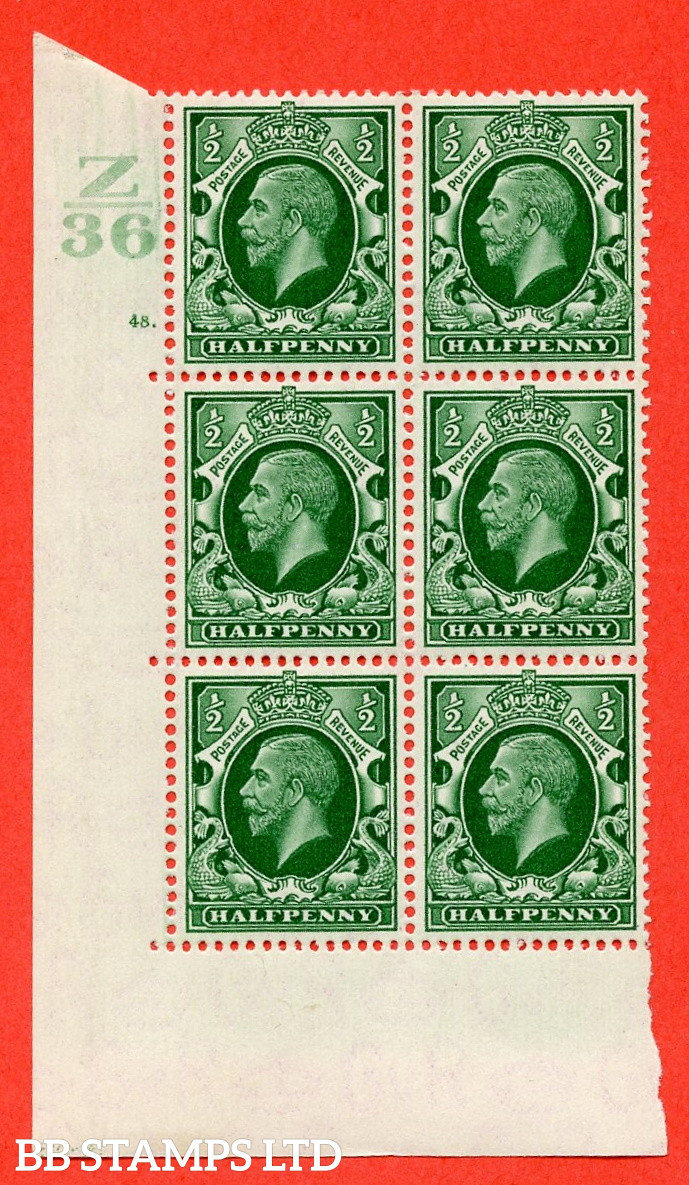 """SG. 439 N47 ½d. Green. A superb unmounted mint """" Control Z36 cylinder 48 dot """" control block of 6 with perf type 5 E/I"""