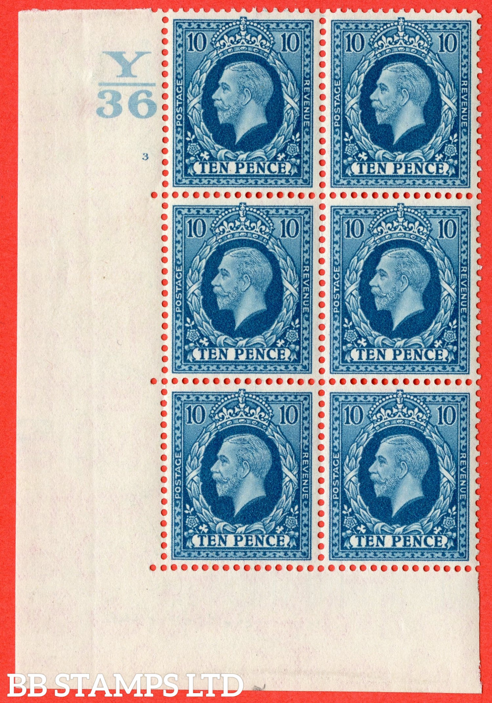 SG. 448. N61. 10d Turquoise-Blue. A very fine mounted mint block of 6. Control Y36. Cylinder 3 no dot perf type 5 E/I.