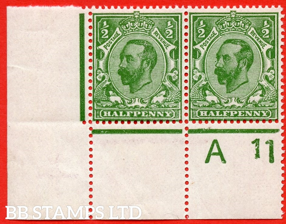 "SG. 324. N2 (3)c. ½d yellow green. Die 1B. A very fine UNMOUNTED MINT control "" A11 perf -- wide "" horizontal pair with the listed variety "" cracked plate ( plate 3. Row 20/2 ) ""."
