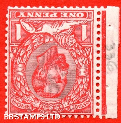"""SG. 336wi variety N10 (2) bf. 1d pale scarlet. INVERTED WATERMARK. A super UNMOUNTED MINT left hand marginal example with the listed variety """" White flaw above right value ( row 2/1 of booklet pane NB5a ) """""""