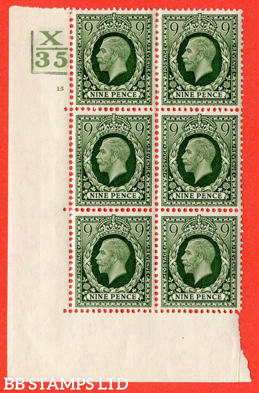 """SG. 447. N60. 9d Deep Olive-Green. A fine mounted mint. """" Control X35. 2 Bars. Cylinder 15 no dot """"  block of 6 perf type 5 E/I"""