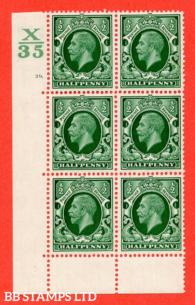 """SG. 439 N47 ½d. Green. A fine lightly mounted mint """" Control X35 cylinder 39 dot """" control block of 6 with perf type 6B E/P"""