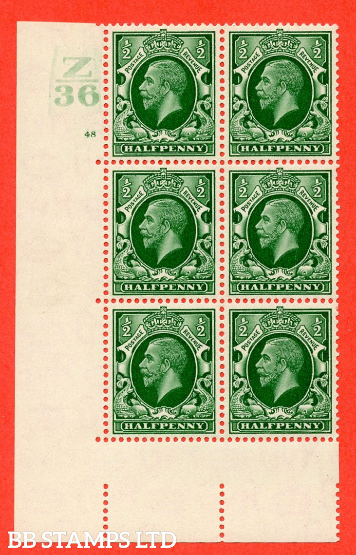 """SG. 439 N47 ½d. Green. A fine lighly mounted mint """" Control Z36 cylinder 48 no dot """" control block of 6 with perf type 5 E/I"""
