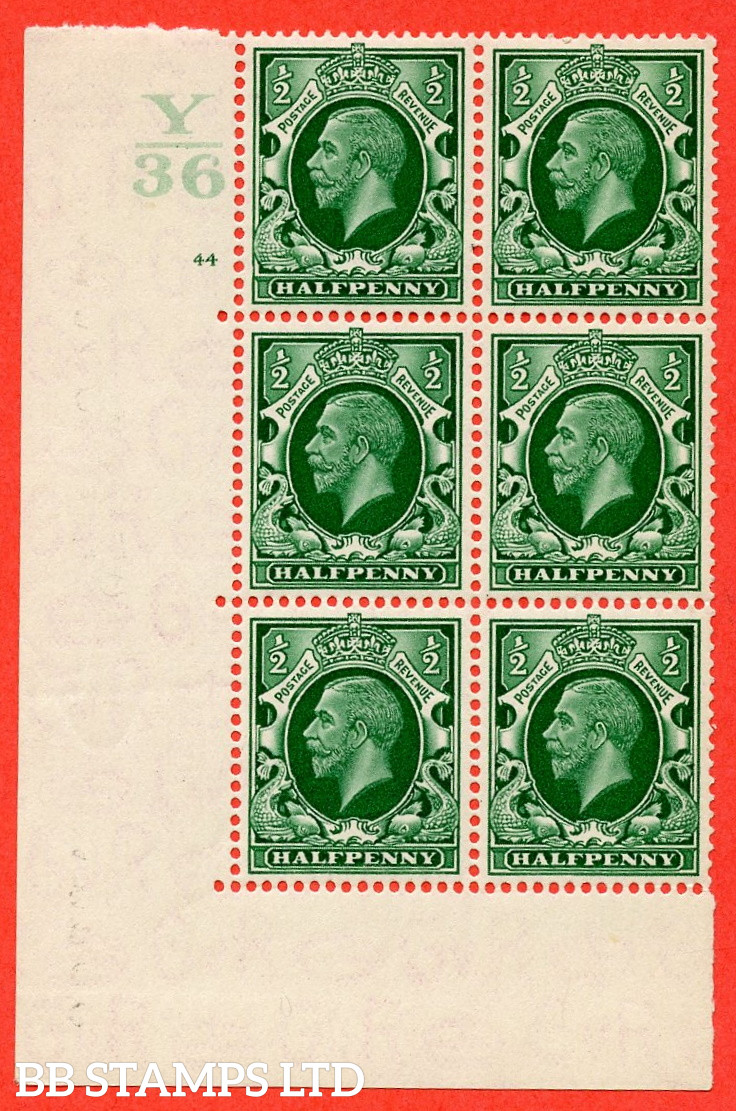 """SG. 439 N47 ½d. Green. A fine mounted mint """" Control Y36 cylinder 44 no dot """" control block of 6 with perf type 5 E/I"""